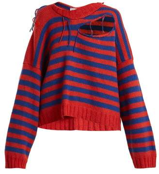 Charles Jeffrey Loverboy - Slashed Striped Print Wool Blend Cropped Sweater - Womens - Blue Multi