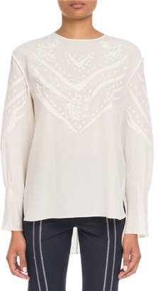 Chloé Long-Sleeve Embroidered Crepe de Chine Blouse