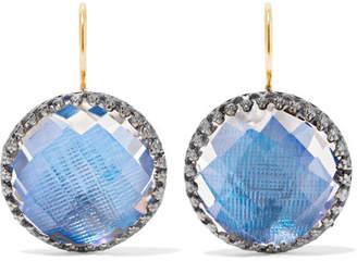 Larkspur & Hawk - Olivia Button Rhodium-dipped Quartz Earrings - Blue