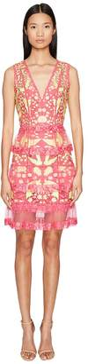 Marchesa Sleeveless Cocktail w/ Guipure Lace Tiered Skirt Women's Dress