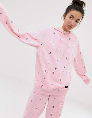 Lazy Oaf oversized hoodie with sad face embroidery two-piece