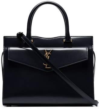 Saint Laurent ink blue Uptown medium leather satchel bag