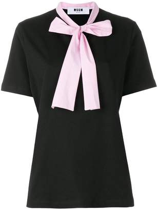 MSGM contrast pussy bow T-shirt