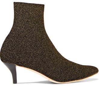 Kassidy Glittered Stretch-knit Sock Boots - Gold