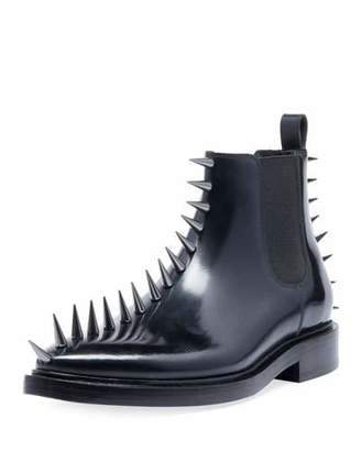 Balenciaga Men's Spikes Leather Combat Boots
