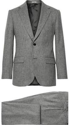 Husbands Grey Slim-Fit Herringbone Wool Three-Piece Suit