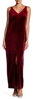 Romeo & Juliet Couture Velvet Mesh V-Neck Maxi Dress