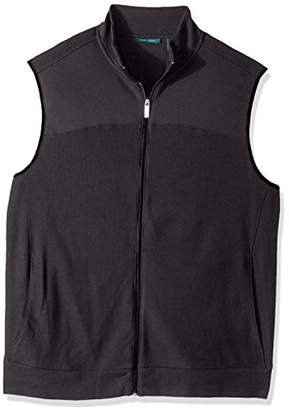 Perry Ellis Men's Big and Tall Cotton Blend Full Zip Texture Knit Vest
