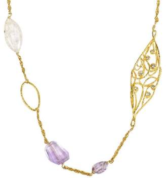 Alexis Bittar Alexis Bittar Gold Tone Hardware with Lavender Green Glass, Quartz & Crystal Necklace