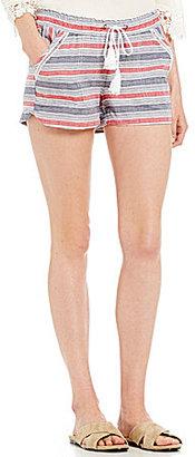 Jolt Striped Drawstring Linen Soft Shorts $39 thestylecure.com