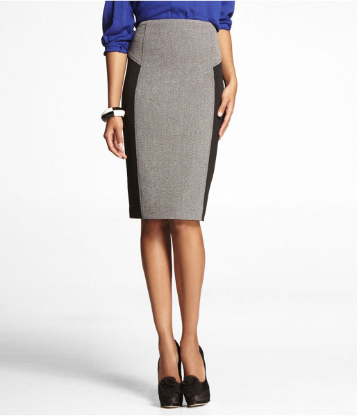 Express Zip-Back Stretch Tweed Pencil Skirt