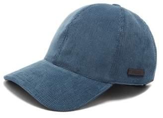Prada Logo Applique Corduroy Baseball Cap - Mens - Blue