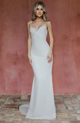 Katie May Noel and Jean by Breathless Twist Bodice Trumpet Gown