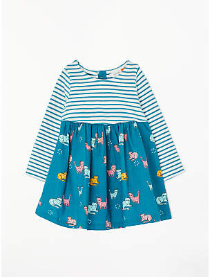 John Lewis & Partners Baby Cat Stripe Half and Half Dress, Blue