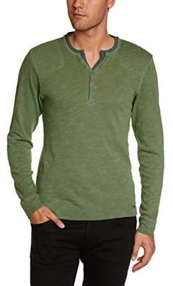 Esprit EDC by Men's 2in1 Henley Gel Button Front Long Sleeve Top