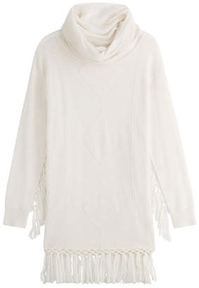 Mes Demoiselles Fringed Turtleneck Pullover with Alpaca