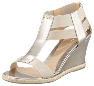 Fendi Metallic Patent Leather-Elastic Wedge Pump