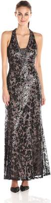 Ignite Women's V Neck Open Lace Back Illusion Halter Dress, Black/Mauve