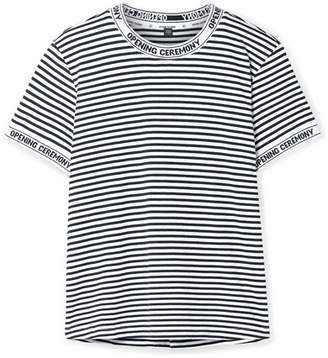 Opening Ceremony Intarsia-trimmed Striped Cotton-jersey T-shirt - White