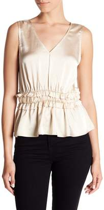 14th & Union Satin Ruffled Tank (Petite Size Available)