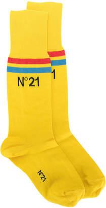 No.21 branded stripe socks
