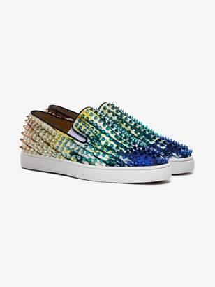 Christian Louboutin Blue Roller Boat spike low top sneakers