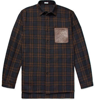 Loewe Leather-Trimmed Checked Wool-Blend Overshirt