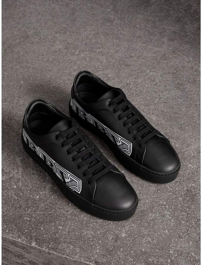 Burberry Doodle Print Leather Sneakers
