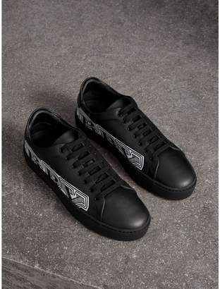 Burberry Doodle Print Leather Trainers