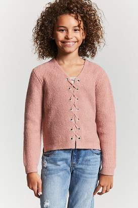 Forever 21 Girls High-Low Lace-Up Sweater (Kids)