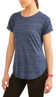 Athletic Works Women's Core Active Roll Cuff Short Sleeve Tunic T-Shirt
