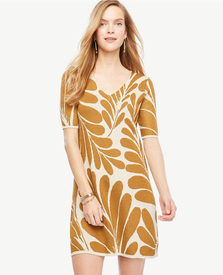 Ann TaylorPetite Leaf Petal V-Neck Sweater Dress