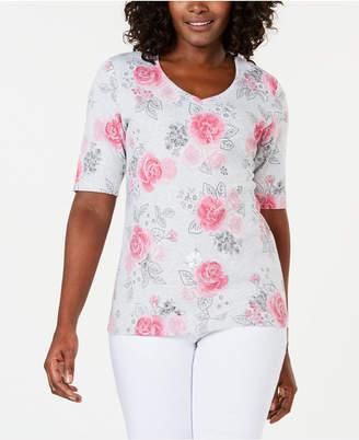 Karen Scott Floral-Print T-Shirt