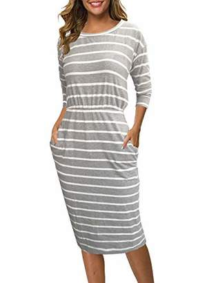 Church's Moyabo Dresses for Women 3/4 Sleeve Round Neck Striped Business Office Work Formal Dress with Pockets