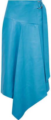 Tibi Asymmetric Leather Midi Skirt - Blue
