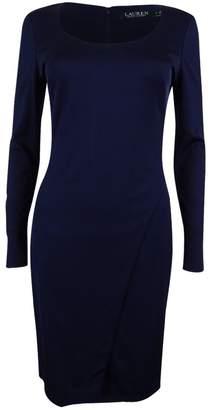 Lauren Ralph Lauren Lauren by Ralph Lauren Womens Asymmetric Scoop Neck Wear to Work Dress Navy