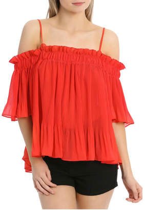 Miss Shop Off Shoulder Pleated Top