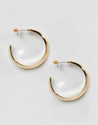 Asos Design DESIGN Thick Flat Hoop Earrings
