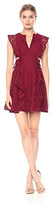 BCBGMAXAZRIA Azria Women's Lydia Knit Lace Dress with Ruffles and Side Cutouts