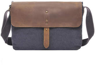 Brix And Bailey Blue Vintaged Leather & Canvas Crossbody Bag