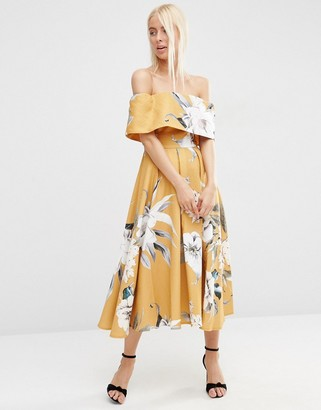 ASOS Premium Off The Shoulder Bardot Midi Prom Dress In Mustard Floral $138 thestylecure.com