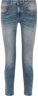R 13 Boy Cropped Slim Boyfriend Jeans - Mid denim