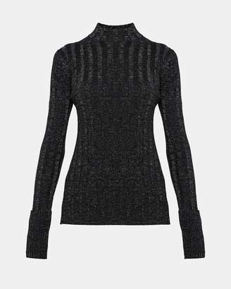Theory Wool Wide Rib Mock Pullover