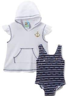 Baby Girl's Ships Ahoy Two-Piece Terry Coverup and One-Piece Swimsuit Set