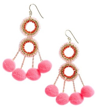 Women's Panacea Pompom Statement Earrings $24 thestylecure.com
