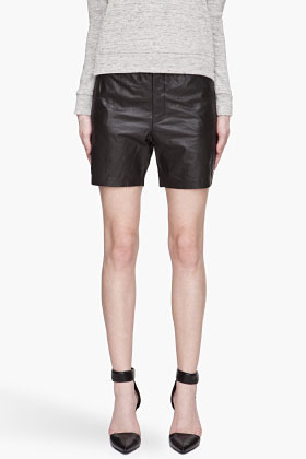 J Brand READY TO WEAR Black Satin and Leather Bergman Shorts