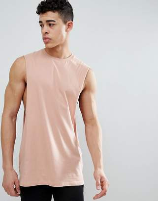 BEIGE ASOS DESIGN longline tank with extreme dropped armhole in