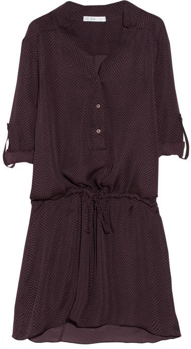 Chelsea Flower Chevron-print silk dress