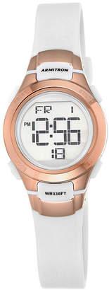 Armitron Womens White and Rose-Tone Digital Chronograph Sport Watch