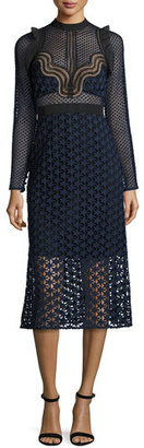Self-Portrait Star Lace Long-Sleeve Midi Dress, Navy $545 thestylecure.com